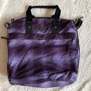 Large Lululemon purple flannel bag EUC